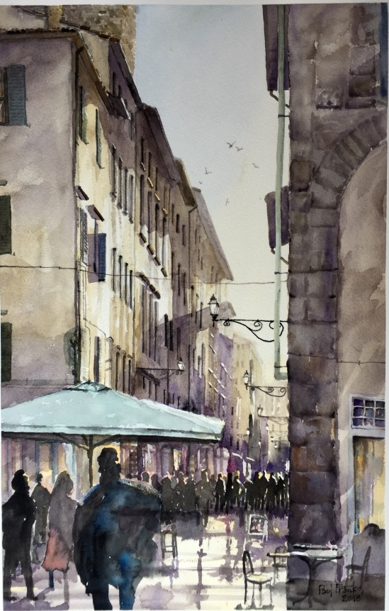 "Watercolor ""Sun setting on a Florence Street"""