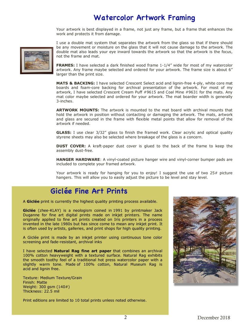 Paul Franks Watercolor Framing _ Printing 12_2018